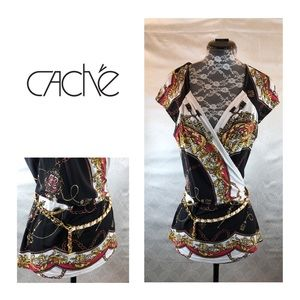 Caché Chain Print Top With Belt